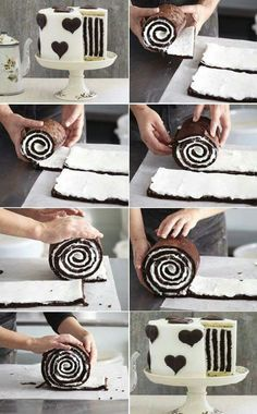 Striped Cake How to Make Gorgeous Chocolate Stripe Cake Food Cakes, Cupcake Cakes, Cake Fondant, Beautiful Cakes, Amazing Cakes, Just Desserts, Delicious Desserts, Summer Desserts, Elegant Desserts