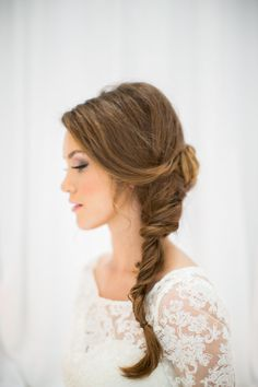 Bride in Side Braid #wedding