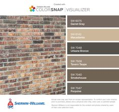 I found these colors with ColorSnap® Visualizer for iPhone by Sherwin-Williams: Garret Gray (SW Macadamia (SW Urbane Bronze (SW Tavern Taupe (SW Smokehouse (SW Porpoise (SW House Exterior Color Schemes, Exterior Paint Colors For House, Paint Colors For Home, Exterior Colors, Brown Brick Exterior, Brown Brick Houses, Pintura Exterior, Home Exterior Makeover, Outdoor Paint