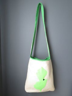 Great cause! Handmade, crossbody, canvas tote bag. Felt applique NJ design with heart. Customize with your state. Cotton lining, w/ pocket.