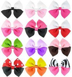 Amazon.com: HipGirl 12pc Set 3.5 Grosgrain Ribbon 2-tone Pinwheel Hair Bow On Lined Alligator Clips - One Size: Clothing