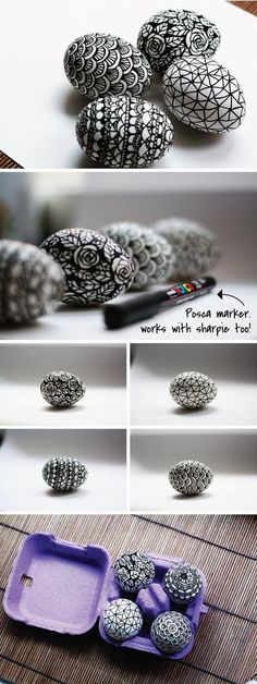 DIY black and white easter eggs decoration various patterns ideas