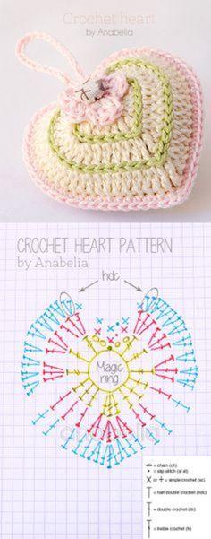 A collection of crochet heart patterns. Beau Crochet, Crochet Mignon, Crochet Diy, Crochet Amigurumi, Crochet Gifts, Single Crochet, Crochet Sachet, Amigurumi Tutorial, Crochet Ideas