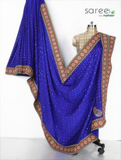 Blue Samo Crepe Saree with Mirror and Embroidery Work