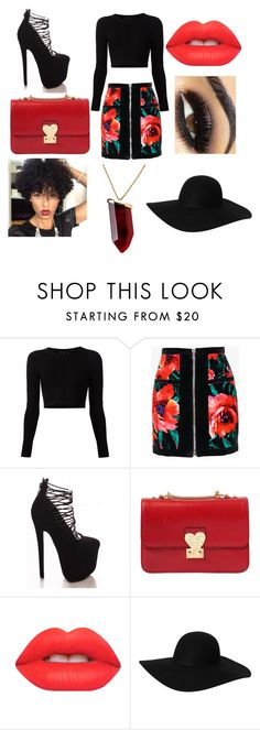 """""""Black And Red...."""" by loveroffashion0216 ❤ liked on Polyvore featuring moda, Cushnie Et Ochs, Balmain, Valentino, Lime Crime, Monki e Kenneth Jay Lane"""