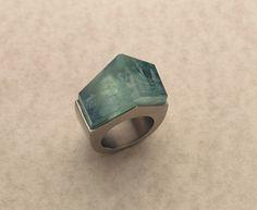 aquamarine, palladium silver ring by regine schwarzer