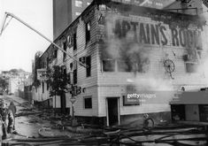 The scene of fire at the Captain's Room in South Boston, Oct. Get premium, high resolution news photos at Getty Images My Childhood Memories, Great Memories, South Boston, Secret Places, Still Image, Vintage Pictures, Summer Nights, Cambridge, New England