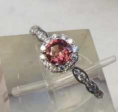 Apricot Sapphire Gemstone Engagement Ring in 14k Gold Diamond Halo Ring Alternative to Morganite Gemstone. $980.00, via Etsy.