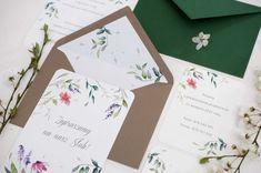 wedding invitations watercolor flower, miodunka papeteria, akwarelowe zaproszenia w kwiaty Watercolor Flower, Wedding Stationery, Container, Wedding Invitations, Wedding Invitation