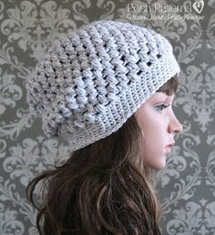 A cute cluster stitch slouchy hat crochet pattern that includes directions for all sizes.