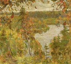 BRODSKY, ISAAK IZRAILOVICH (Sofjevka 1884 - 1939 Leningrad) Autumn river landscape.Oil on canvas. Signed lower left in Cyrillic.<br>58 x 68 cm.<br><br><B>BRODSKY, ISAAK IZRAILOVICH</b></i><br>(Sofjevka 1884 - 1939 Leningrad)<br>Herbstliche Flusslandschaft.<br>Öl auf Leinwand. Unten links kyrillisch signiert.<br>58 x 68 cm.<br><br>