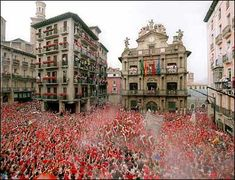 running of the bulls San Fermin Festival in Pamplona, Spain