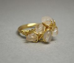 Cocktail Ring - Wire Wrapped Stone Ring, Rose Colored Stones, Cluster Ring, Cluster, Wire Wrapped, Gold, Statement Ring, Chunky Ring, Pink on Etsy, $36.67 CAD
