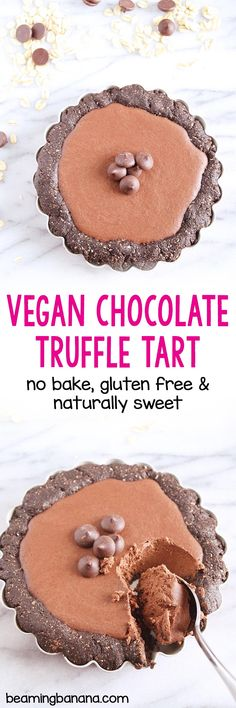 This no bake vegan chocolate truffle tart is SO rich and decadent, you'd never guess it's made with 5 healthy ingredients!