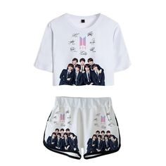 off kpop bts one set crop top & shorts. Girls Fashion Clothes, Teen Fashion Outfits, Kpop Fashion, Korean Fashion, Clothes For Women, Bts Hoodie, Bts Shirt, Crop Top And Shorts, Crop Tops