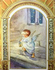 Erica Von Kager - Vintage Xmas Greeting Card Angels Going Up Stairs. Brownie Card