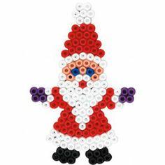 Weihnachten Weihnachtsmann Hama Bügelperlen (Stiftplatten Kreis medium)