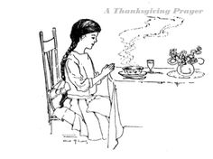 vintage colouring page Thanksgiving Prayer