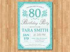 80th Birthday Invitation for women. Purple Blue any by arthomer