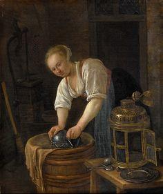 Art Print: Woman Scouring Metalware by Jan Havicksz Steen : 17th Century Clothing, Dutch Golden Age, Renaissance Paintings, Poster Prints, Art Prints, Dutch Painters, Dutch Artists, Ancient Civilizations, Female Art