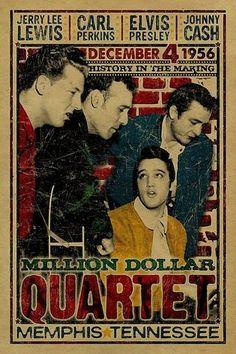 Million Dollar Quartet - Elvis Presley - Carl Perkins - Johnny Cash - Jerry Lee Lewis - 1956 - Mini Print