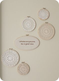 doilies in embroidery hoops: I LOVE this! ~AM