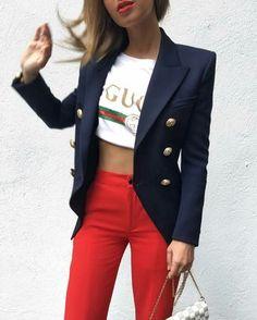 Navy blazer, Gucci T-shirt and red pants for fashion inspiration. #ootd #fashion #gucci #tshirt #whitetee #blazer #navyblazer #fashionblogger #fabfashionfix