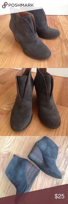 BCBGeneration Gray Suede Booties BCBGeneration Gray Suede Booties - love these cute stacked wedge booties! These are so chic for fall! Suede is in excellent condition. No major scratches or signs of wear. BCBGeneration Shoes Ankle Boots & Booties
