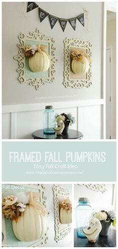 Framed Fall Pumpkins crafts idea || This is a great way to use those fun curvy wood frames!