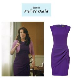 "April 20, 2014 @ 8:35 pm Bellamy Young as Mellie Grant in Scandal - ""Flesh & Blood"" (Ep. 317). Mellie's Dress: Michael Kors Wool Pleat Dress in Grape $1,435 $717 here 