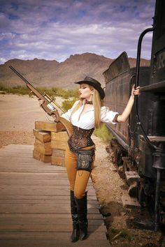 Wild West Steampunk (western america cowgirl/cowboy aka weird west) - For costume tutorials, clothing guide, fashion inspiration photo gallery, calendar of Steampunk events, Costume Steampunk, Mode Steampunk, Steampunk Clothing, Steampunk Fashion, Sexy Cowgirl, Cowgirl Costume For Women, Gypsy Cowgirl, Western Cowboy, Cowgirls