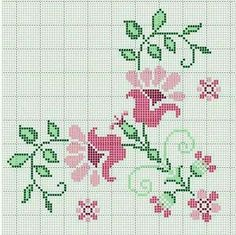 Hesap işi Flower Embroidery Designs, Embroidery Stitches, Hand Embroidery, Cross Stitch Alphabet Patterns, Cross Stitching, Diy And Crafts, Kids Rugs, Floral, Chrochet