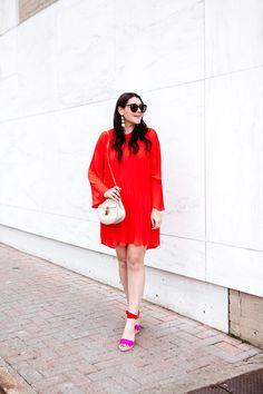 Red pleated dress wi