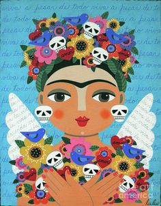 Frida Kaho Mother Earth Angel Painting by LuLu Mypinkturtle