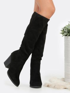 Online shopping for Faux Suede Chunky Heel Boots BLACK from a great selection of women's fashion clothing & more at MakeMeChic.COM.