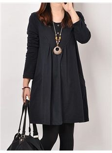 Pleated Loose Round Neck Casual Dresses
