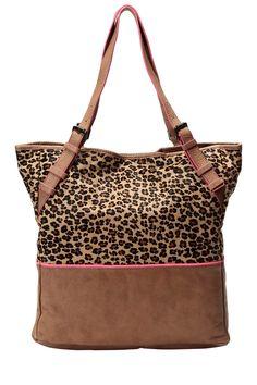 BEL AIR  Cabas leopard et rose 100% cuir    Bi-matière