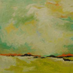 """Seaside Surf"" 20 x24 oil landscape painting: in white, cream, yellow, teal blue, orange, turquoise, lime & ochre.  Hillary Butler Fine Art"
