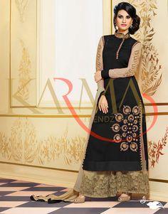 Black Raw Silk Kameez With Palazzo Pant 58730