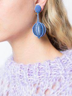 Shop Oscar de la Renta single line dropped ball clip-on earrings