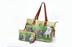 Pochette e borsa personalizzata con foto e iniziali stampata su ecopelle