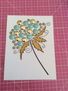 This card was made by Jackie da silva using the bloom stamps, card candi and paper pieced  leaves with matt gold card... Lovely Jackie