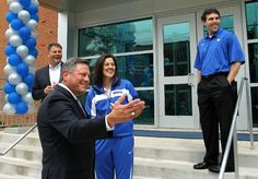 April 16, 2012 - Incoming University of Memphis Director of Athletics Tom Bowen stands outside the Penny Hardaway Hall of Fame with football coach Justin Fuente, women's basketball coach Melissa McFerrin and men's basketball coach Josh Pastner after being introduced on Monday. (Mike Brown/The Commercial Appeal)