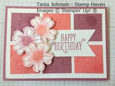 Tania Johnson : Stamp Haven, Independent Stampin' Up! Demonstrator, Onstage November 2017 Card Swap. #onstage2017 #loveitliveitshareit #Pansy #Flower Shop #birthday #flower #card #homemade