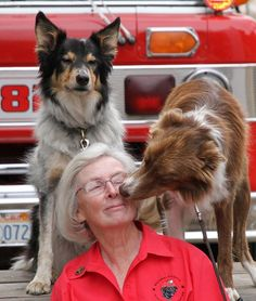 Wilma Melville, founder of National Disaster Search Dog Foundation getting some deserved puppy love from rescue dogs Ranger and Dhillie! <3