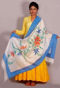 "Buy online Tjori's latest "" The Floral Story"" cotton silk dupatta # Hand painted…"