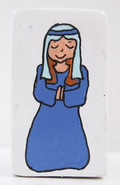 Mary and Joseph.  Paint your own nativity set using our letter/picture blocks - free-standing, own-brand ceramic bisque pottery designs.