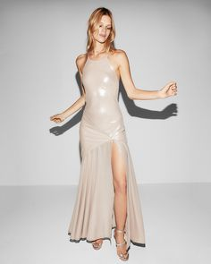 Halter Neck Satin Maxi Dress Shop this look Here-> http://rstyle.me/n/cvrus7b8ym7