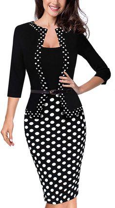 HOMEYEE Women s Vintage Retro 3 4 Sleeve Pencil Dress Wear to Work B407 (UK 26082f356d8e