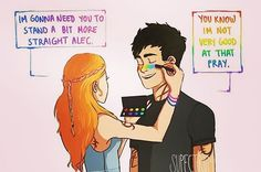 When Alec's speech bubble is rainbow which symbolises gay and Clary's is the three Bi colours
